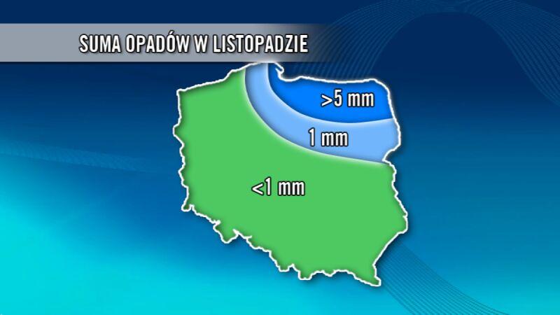 Suma opadów w listopadzie w Polsce (TVN Meteo)