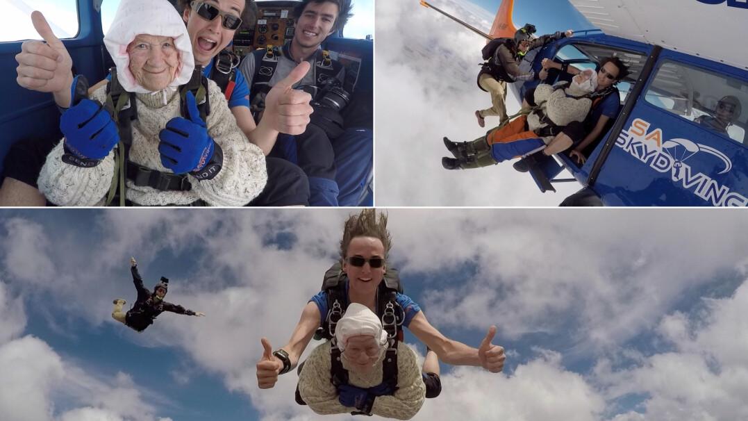 Ma 102 lata i skoczyła ze spadochronem