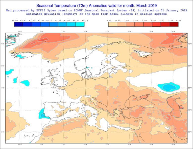 Prognoza średniej miesięcznej temperatury dla marca według modelu ECMWF