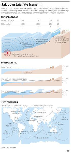Jak powstają fale tsunami (Małgorzata Latos/PAP)