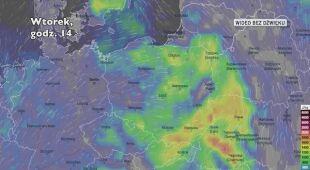 Prognozowany rozwój burz w ciągu kolejnych dni (Ventusky)